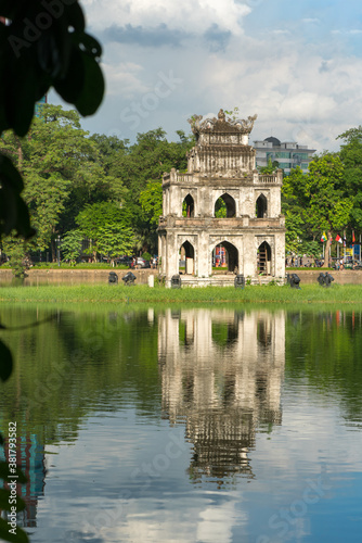 Turtle Tower (Thap Rua) in Hoan Kiem lake (Sword lake, Ho Guom) in Hanoi, Vietnam. Wall mural