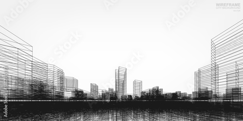 Fotomural Wireframe city background