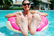 Woman Showing Feet Got Wrinkly...