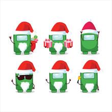 Santa Claus Emoticons With Among Us Green Cartoon Character