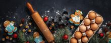 Christmas Gingerbread On Dark ...