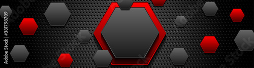 Trendy composition of red and black hexagons on black background. Dark metallic perforated texture design. Technology geometric illustration. Vector header banner