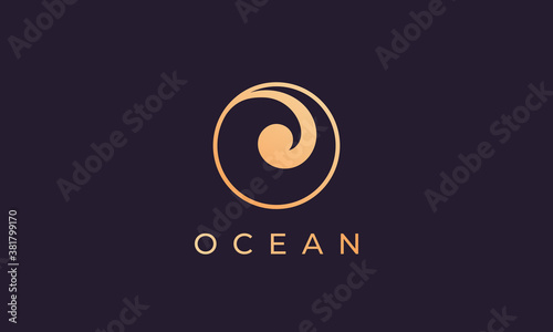 Fototapeta gold ocean wave logo template with luxurious and premium shape obraz