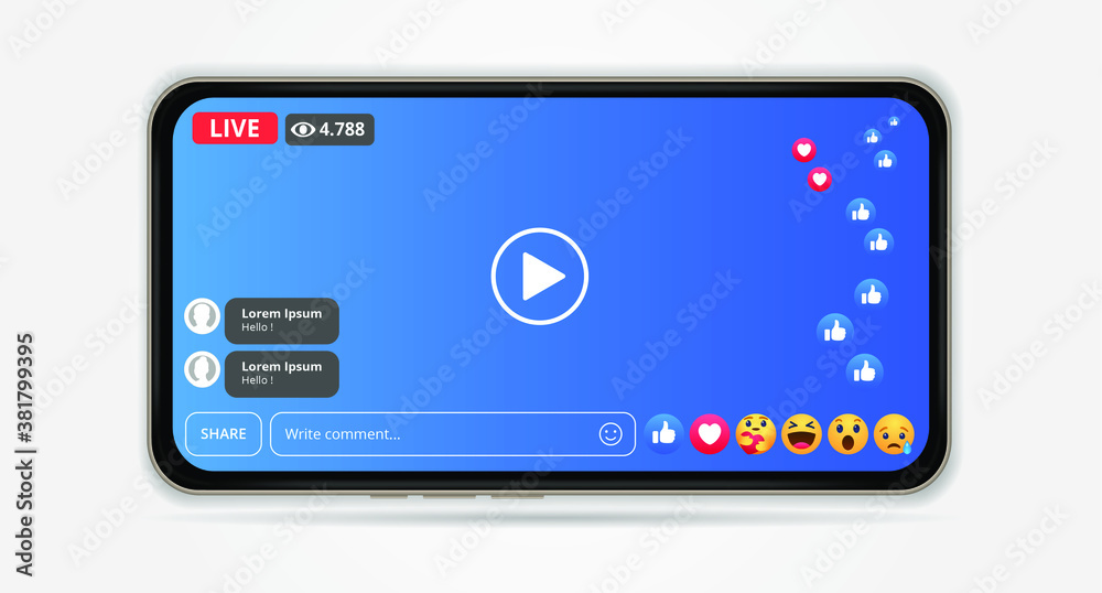 Fototapeta facebook live streaming with mobile element