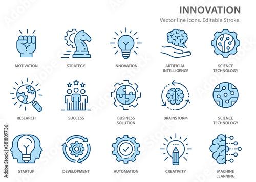 Fotografie, Obraz Innovation flat line icons. Vector illustration. Editable stroke.