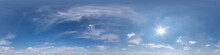 Seamless Clear Blue Sky Hdri Panorama 360 Degrees Angle View With Beautiful Clouds  With Zenith For Use In 3d Graphics Or Game As Sky Dome Or Edit Drone Shot