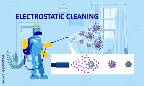 Fototapeta Electrostatic Disinfection Cleaning service