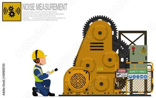 Fototapeta An industrial worker is measuring sound level of the rolling machine obraz
