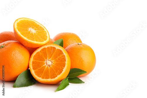 Carta da parati Group of ripe mandarins isolated on white background