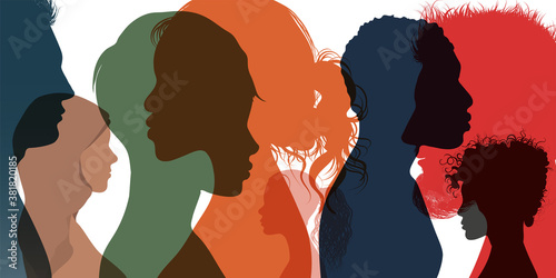 Foto Silhouette profile group of men women and girl of diverse culture