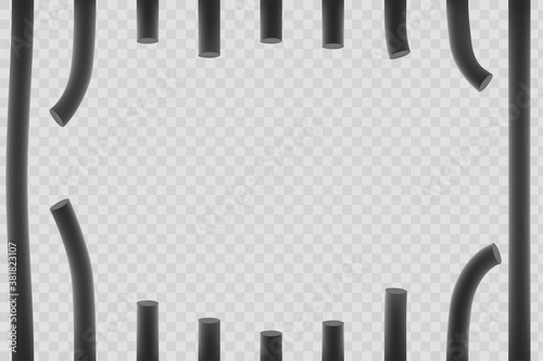 Cuadros en Lienzo Broken metal bars. Window in prison. Vector illustration