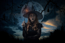Halloween Witch Holding Magic ...