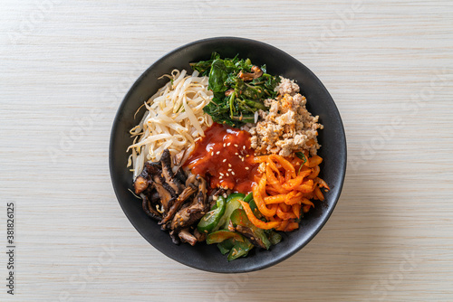 Korean spicy salad with rice - traditionally Korean food, Bibimbap Fototapet