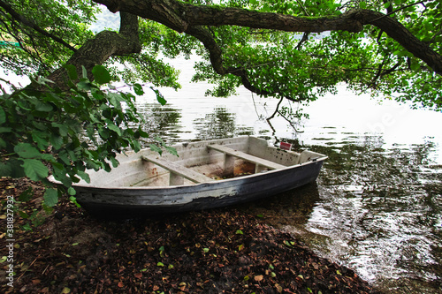 Fototapety, obrazy:  Fishing boat on the lake standing on the shore under the trees. And around the autumn forest
