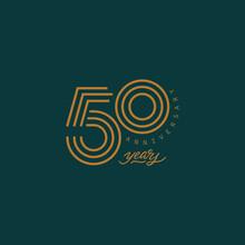 50 Years Anniversary Pictogram Vector Icon, 50th Year Birthday Logo Label.