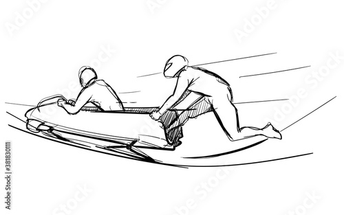 bobsleigh extreme winter sport hand drawn sketches white isolated background Fototapete