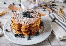Stack Of Freshly Baked Waffles