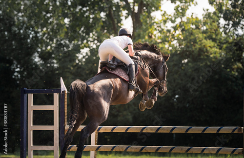 Obraz na plátně Young rider girl jumping on horse over obstacle.