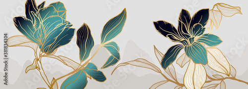 Luxury green and white magnolia flower background vector with golden metallic decorate - fototapety na wymiar