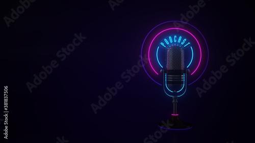 Fototapeta Microphone Neon Sign Podcast obraz