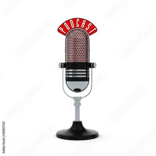 Fototapeta Microphone Podcast White obraz