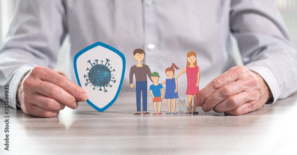 Fototapeta Concept of family insurance during covid-19 outbreak