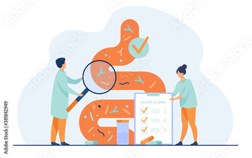 Canvas Print Tiny medical doctors examining gastrointestinal tract and digestive system isolated flat vector illustration