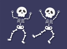 2 Skeletons Dancing Isolated In Blue Background, Cartoon Comic Vector Illustration