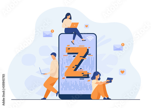 Canvastavla Virtual tiny people messaging in social media flat vector illustration