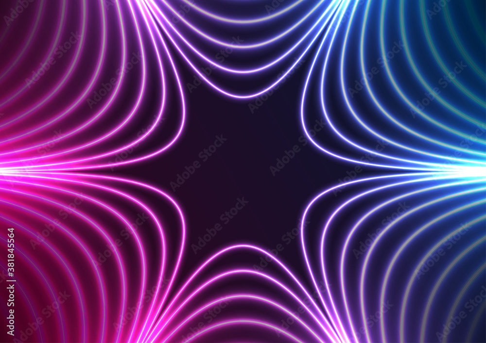 Blue and purple neon concept stars abstract futuristic hi-tech background. Vector design