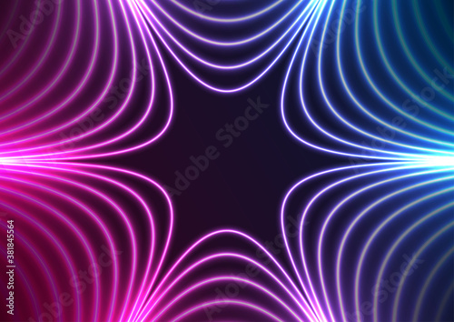 Blue and purple neon concept stars abstract futuristic hi-tech background. Vector design