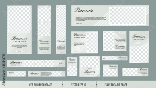 Fototapeta set of creative web banners of standard size with a place for photos