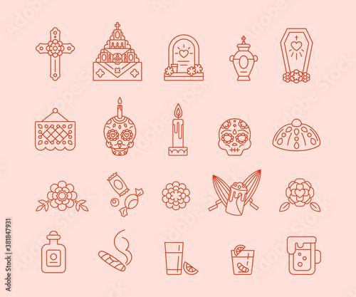 Cuadros en Lienzo Dia de Muertos - Set of outline icons