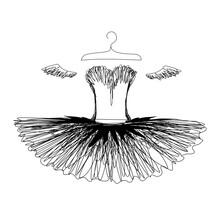 Ballet Tutu On A Hanger Silhouette. Vector Illustration Of A Dress For A Ballerina.