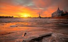 Sunset Over The River Neva, Sa...
