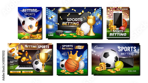Photo Betting Sports Promotional Posters Set Vector