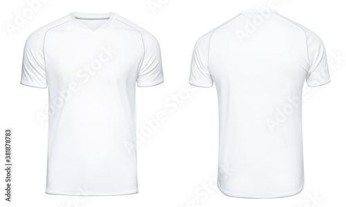 Fototapeta Sports football uniforms white shirt isolated on white background