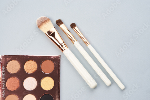 palette with eyeshadows and brushes on gray background cropped view Copy Space Canvas Print