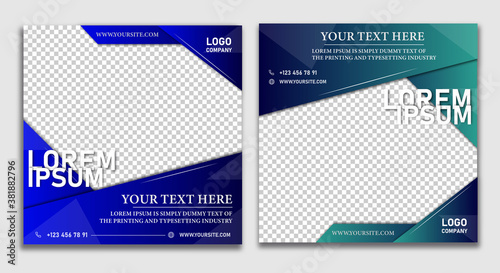 Fototapeta SMM post Marketing agency instagram post template Set of business cards with business people Social media post template. Social media post template obraz na płótnie
