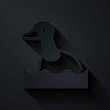 Paper Cut Flying Duck Icon Iso...