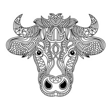 Ox Head Coloring Book Illustration. Antistress Coloring For Adults. Black And White Lines. Print For T-shirts And Coloring Books.