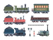 Old Steam Locomotives Set. Com...