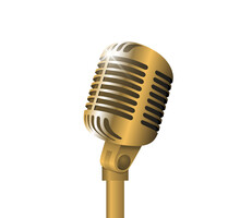 Retro Vintage Metal Microphone On Stand On White Background. Mic With Flare. Music, Voice, Record Icon. Recording Studio Symbol. Realistic Gold Style Vector Eps Illustration