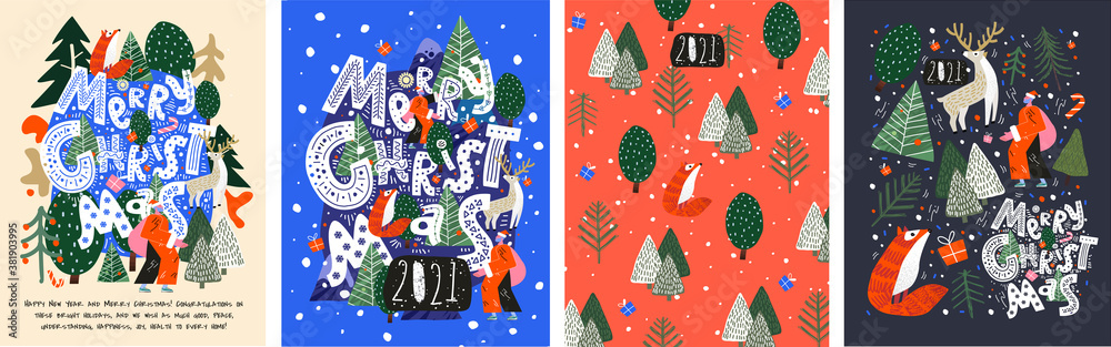 Fototapeta Merry Christmas and Happy New Year! 2021! Vector trendy abstract illustrations of holiday card with forest, santa claus, fox, deer, lettering, christmas tree and pine. Drawing for poster or pattern.