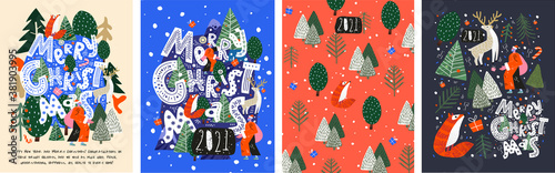 Obraz Merry Christmas and Happy New Year! 2021! Vector trendy abstract illustrations of holiday card with forest, santa claus, fox, deer, lettering, christmas tree and pine. Drawing for poster or pattern. - fototapety do salonu