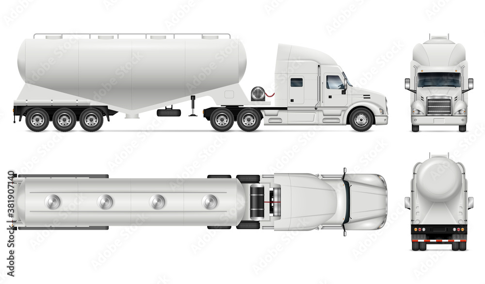 Fototapeta Dry bulk tanker trailer truck vector mockup on white for vehicle branding, corporate identity. View from side, front, back, top. All elements in groups on separate layers for easy editing and recolor