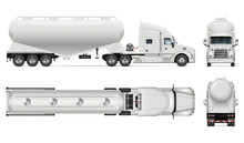 Dry Bulk Tanker Trailer Truck Vector Mockup On White For Vehicle Branding, Corporate Identity. View From Side, Front, Back, Top. All Elements In Groups On Separate Layers For Easy Editing And Recolor