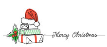 Xmas Banner With Gift Box Present Package Stack. One Continuous Line Drawing With Greeting Text Merry Christmas. Simple Illustration, Background With Gifts, Holly Berry And Red Santa Hat.