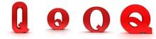 Q Letter Red Sign 3d Rendering