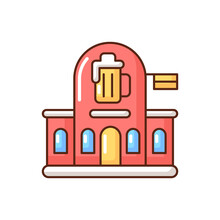 Pub RGB Color Icon. Bar Front To Drink Ale. Beer Store. Alcoholic Beverage Shop. Brewery For Ale And Stout. Traditional British Diner. Tavern To Drink Spirits. Isolated Vector Illustration